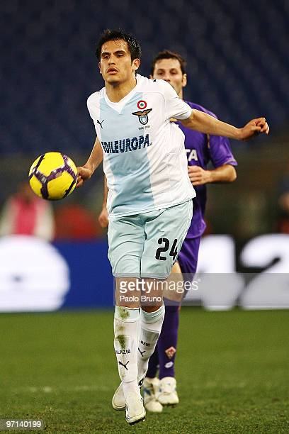 Cristian Ledesma of SS Lazio in action during the Serie A match between Lazio and Fiorentina at Stadio Olimpico on February 27 2010 in Rome Italy