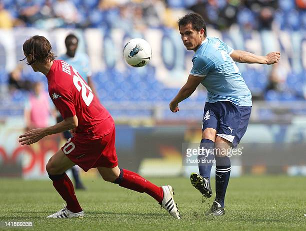Cristian Ledesma of SS Lazio in action during the Serie A match between SS Lazio and Cagliari Calcio at Stadio Olimpico on March 25 2012 in Rome Italy
