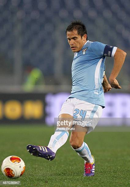 Cristian Ledesma of SS Lazio in action during the UEFA Europa League Group J match between SS Lazio and AS Trabzonspor at Stadio Olimpico on December...