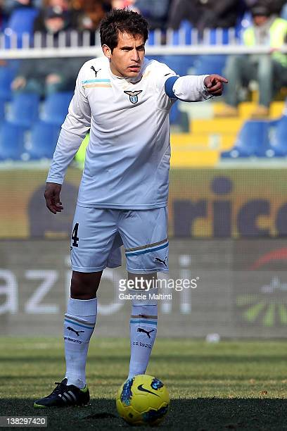 Cristian Ledesma of SS Lazio reacts during the Serie A match between Genoa CFC and SS Lazio at Stadio Luigi Ferraris on February 5 2012 in Genoa Italy