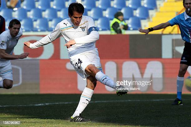 Cristian Ledesma of SS Lazio scores a goal from the penalty spot during the Serie A match between Genoa CFC and SS Lazio at Stadio Luigi Ferraris on...