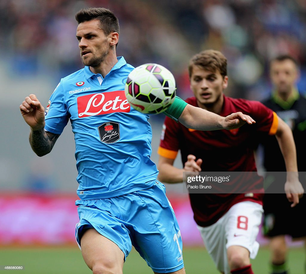 Cristian Maggio of SSC Napoli in action during the Serie A match between AS Roma and SSC Napoli at Stadio Olimpico on April 4, 2015 in Rome, Italy.