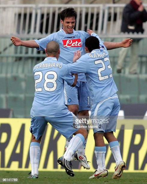 Cristian Maggio, Paolo Cannavaro and Walter Gargano of SSC Napoli celebrates the goal during the Serie A match between Livorno and Napoli at Stadio...