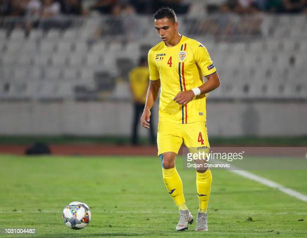 Cristian Manea of Romania in action during the UEFA Nations League C group four match between Serbia and Romania at stadium Partizan on September 10...