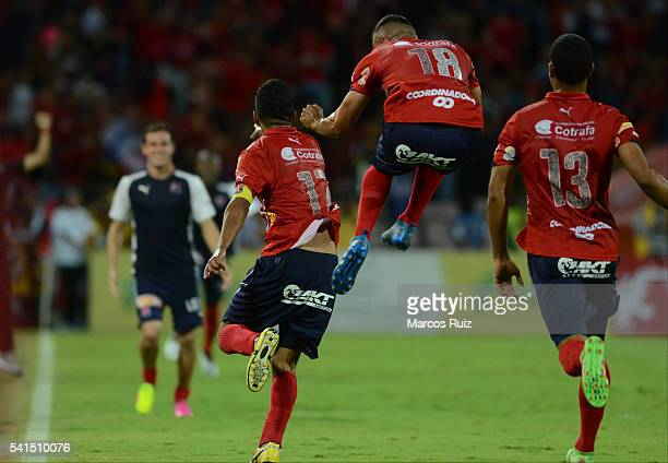 Cristian Marrugo of Medellin celebrates with teammates after scoring during a second leg final match between Independiente Medellin and Junior as...