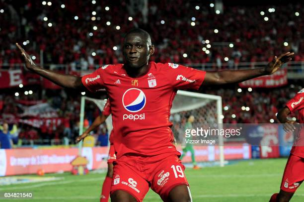 Cristian Martinez Borja of America celebrates the third goal of his team during a match between America de Cali and Atletico Junior as part of the...
