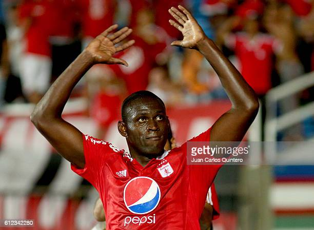 Cristian Martinez Borja of America de Cali celebrates after scoring during a match between America de Cali and Valledupar as part of round 14 of...