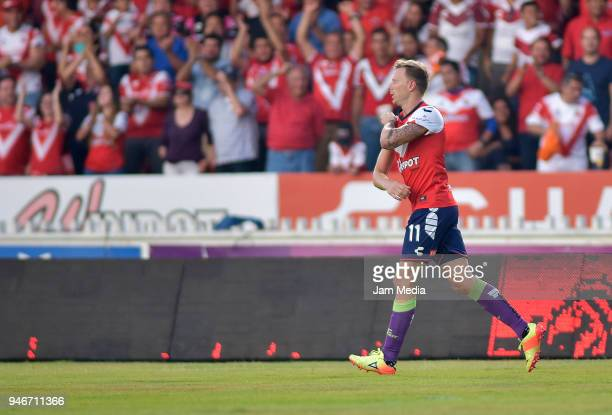 Cristian Menendez celebrates after scoring the first goal of Veracruz during the 15th round match between Veracruz and Leon as part of the Torneo...