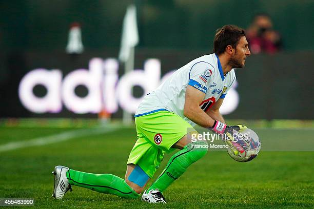 Cristian Muñoz goalkeeper of U de Concepcion in action during a match between U de Chile and U de Concepcion as part of eighth round of Torneo...