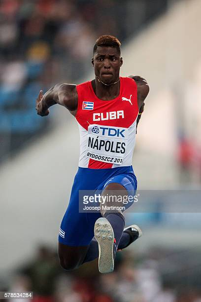 Cristian Napoles from Cuba competes in men's triple jump during the IAAF World U20 Championships at the Zawisza Stadium on July 21 2016 in Bydgoszcz...