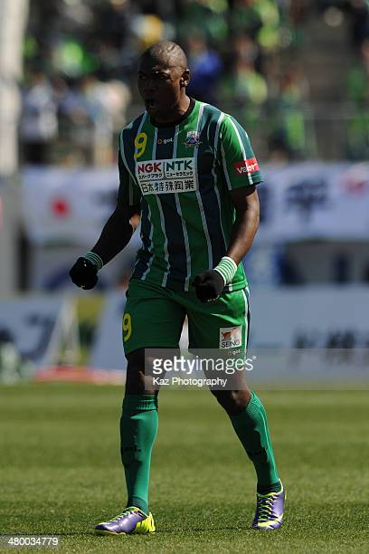Cristian Nazarit Truque of FC Gifu celebrates his second goal during the JLeague second division match between FC Gifu and Shonan Bellmare at...