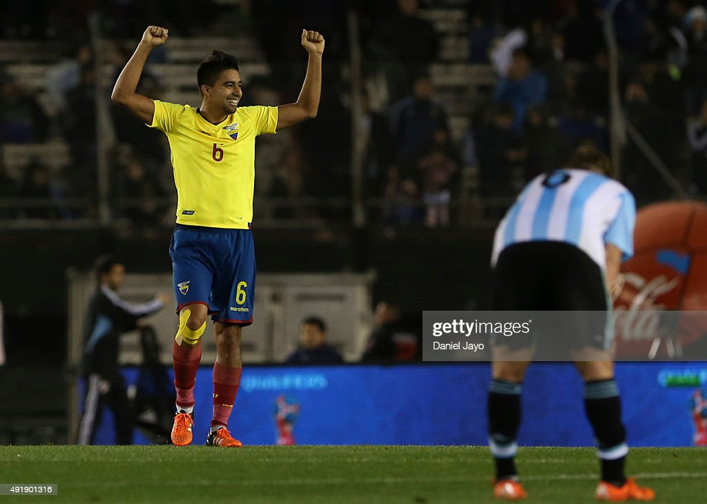 Cristian Noboa, of Ecuador, celebrates at the end of a match between Argentina and Ecuador as part of FIFA 2018 World Cup Qualifier at Monumental Antonio Vespucio Liberti Stadium on October 08, 2015 in Buenos Aires, Argentina.