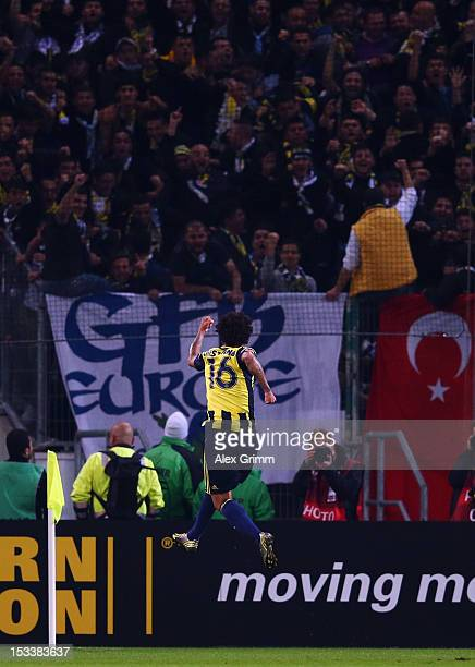 Cristian of Fenerbahce celebrates his team's first goal during the UEFA Europa League group C match between Borussia Moenchengladbach and Fenerbahce...