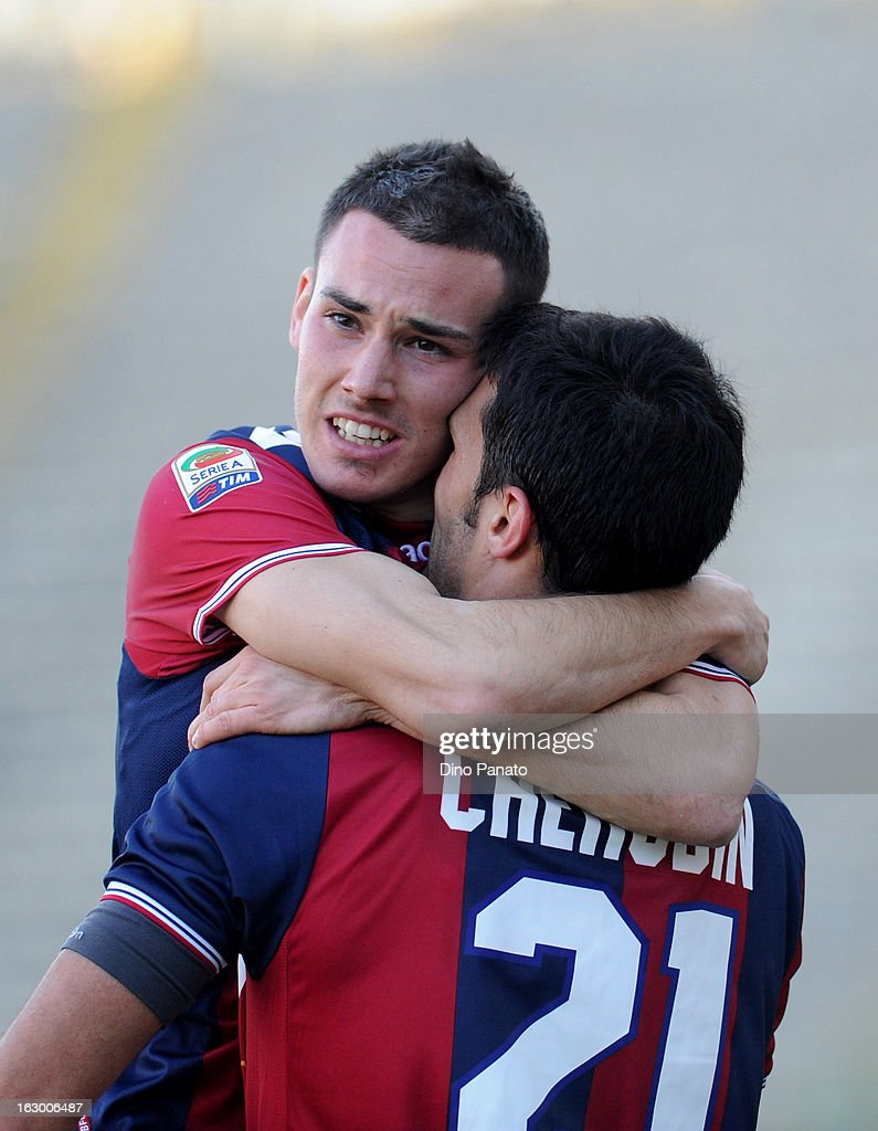 Cristian Pasquato (L) of Bologna FC celebrate after scoring is team's third goal with is team mate Nicolo' Cherubin during the Serie A match between Bologna FC and Cagliari Calcio at Stadio Renato Dall'Ara on March 3, 2013 in Bologna, Italy.