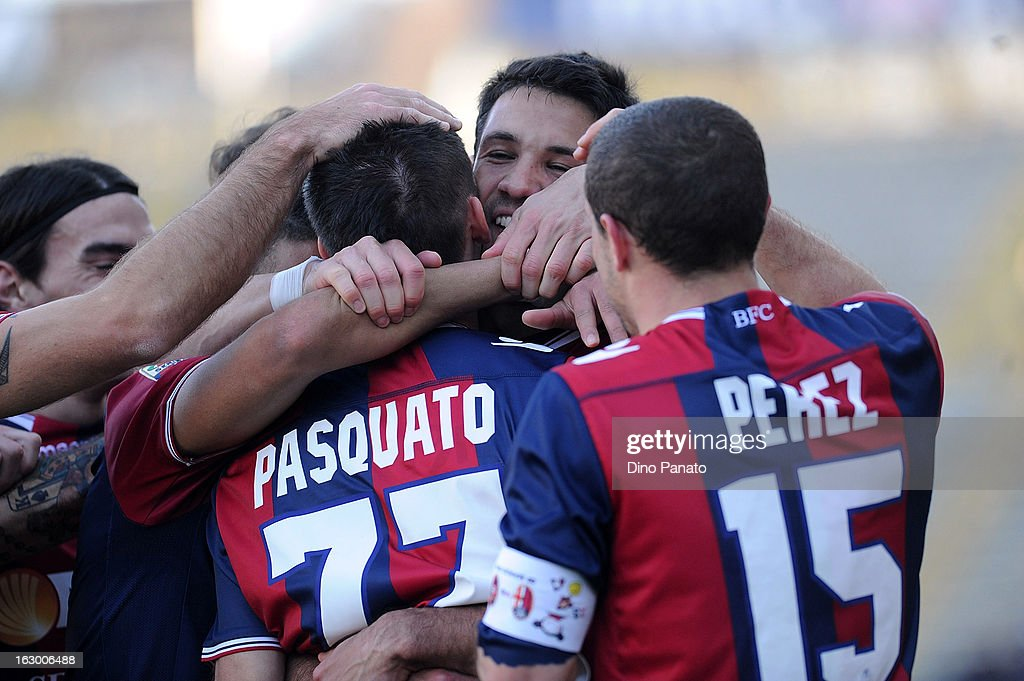 Cristian Pasquato #77 of Bologna FC celebrate after scoring is team's third goal with teams mate during the Serie A match between Bologna FC and Cagliari Calcio at Stadio Renato Dall'Ara on March 3, 2013 in Bologna, Italy.