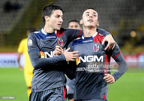 Cristian Pasquato of Bologna FC celebrates after scoring the opening goal during the TIM Cup Bologna FC and AS Livorno at Renato Dall'Ara Stadium on...