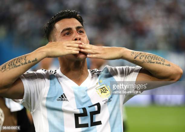 Cristian Pavon of Argentina celebrates victory following the 2018 FIFA World Cup Russia group D match between Nigeria and Argentina at Saint...