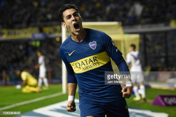 Cristian Pavon of Boca Juniors celebrates after scoring the first goal of his team during a match between Boca Juniors and Velez as part of Superliga...
