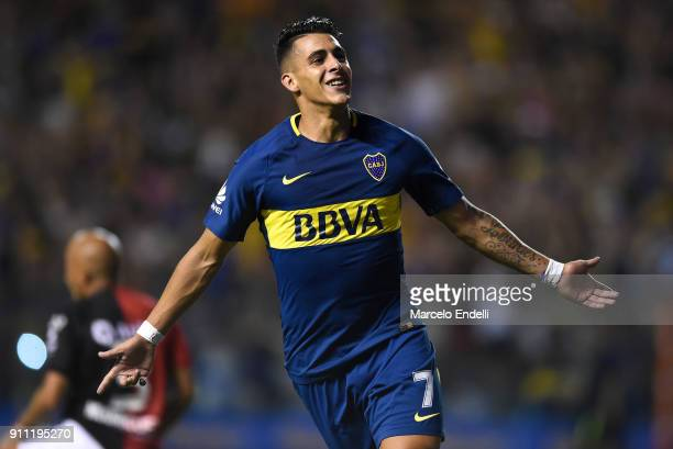 Cristian Pavon of Boca Juniors celebrates after scoring the first goal of his team during a match between Boca Juniors and Colon as part of the...