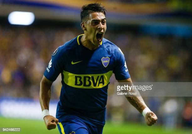 Cristian Pavon of Boca Juniors celebrates after scoring the first goal of his team during a group phase match between Boca Juniors and Junior as part...