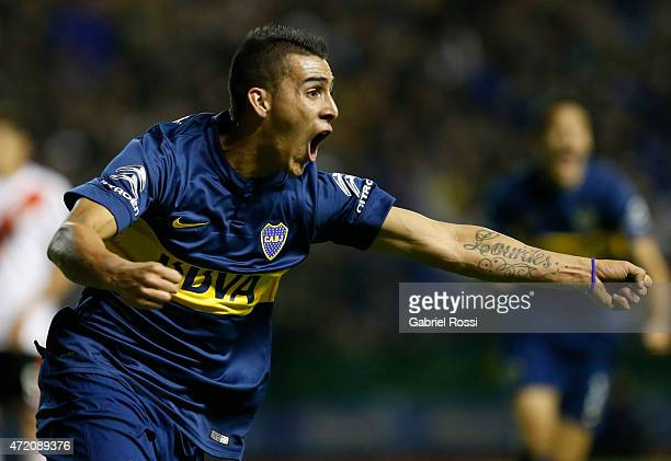 Cristian Pavon of Boca Juniors celebrates after scoring the opening goal during a match between Boca Juniors and River Plate as part of 11th round of...