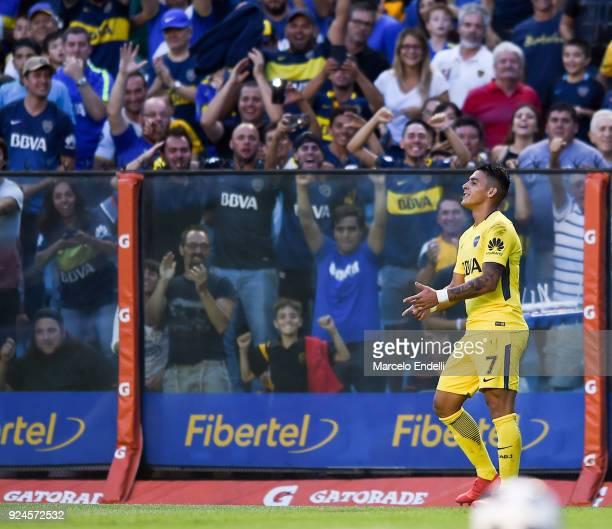Cristian Pavon of Boca Juniors celebrates after scoring the second goal of his team during a match between Boca Juniors and San Martin de San Juan as...