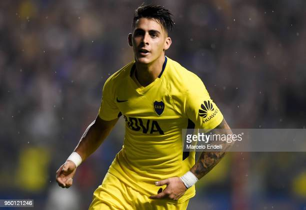 Cristian Pavon of Boca Juniors celebrates after scoring the third goal of his team during a match between Boca Juniors and Newell's Old Boys as part...