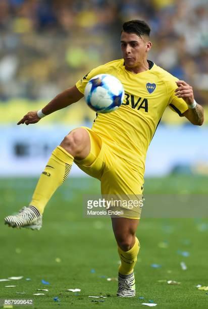 Cristian Pavon of Boca Juniors control the ball during a match between Boca Juniors and Belgrano as part of Superliga 2017/18 at Alberto J Armando...
