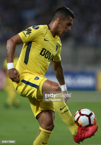 Cristian Pavon of Boca Juniors controls the ball during a groups stage match between Alianza Lima and Boca Juniors as part of Copa Conmebol...