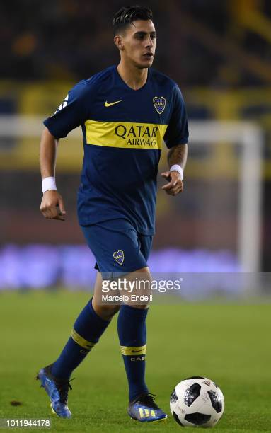 Cristian Pavon of Boca Juniors drives the ball during a match between Boca Juniors and Alvarado as part of Round of 64 of Copa Argentina 2018 on...