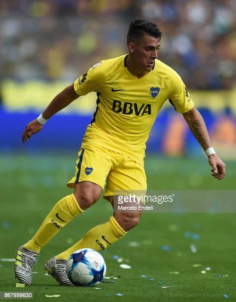 Cristian Pavon of Boca Juniors drives the ball during a match between Boca Juniors and Belgrano as part of Superliga 2017/18 at Alberto J Armando...