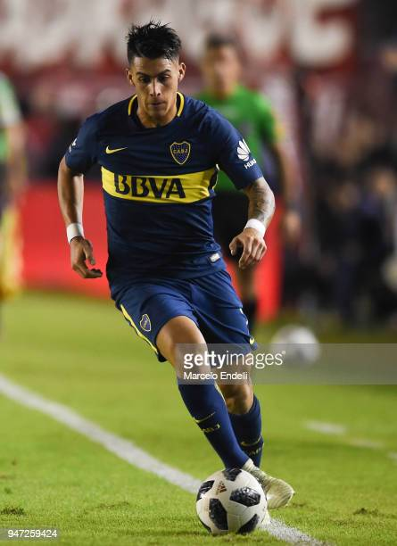 Cristian Pavon of Boca Juniors drives the ball during a match between Independiente and Boca Juniors as part of Superliga 2017/18 on April 15 2018 in...