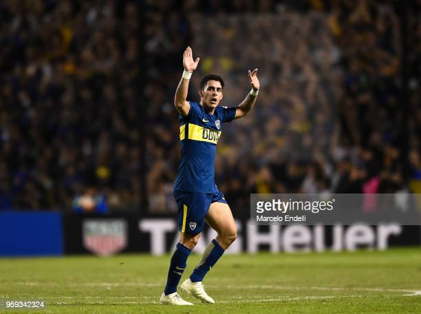 Cristian Pavon of Boca Juniors greets fans after a match between Boca Juniors and Alianza Lima at Alberto J Armando Stadium on May 16 2018 in La Boca...