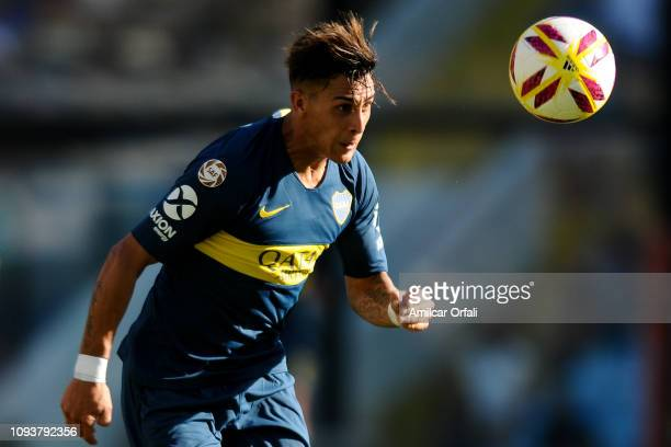 Cristian Pavon of Boca Juniors heads the ball during a match between Boca Juniors and Godoy Cruz as part of Superliga 2018/19 at Estadio Alberto J...