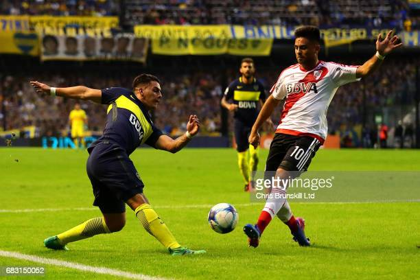 Cristian Pavon of Boca Juniors in action with Gonzalo Martinez of River Plate during the Torneo Primera Division match between Boca Juniors and River...