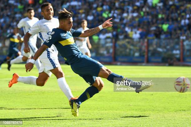 Cristian Pavon of Boca Juniors kicks the ball during a match between Boca Juniors and Godoy Cruz as part of Superliga 2018/19 at Estadio Alberto J...