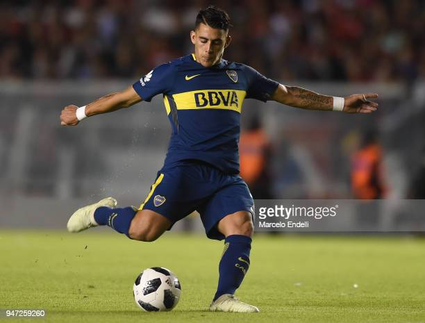 Cristian Pavon of Boca Juniors kicks the ball during a match between Independiente and Boca Juniors as part of Superliga 2017/18 on April 15 2018 in...