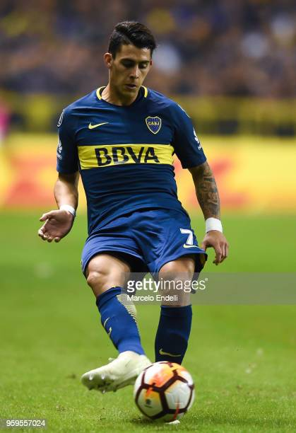 Cristian Pavon of Boca Juniors kicks the ball during a match between Boca Juniors and Alianza Lima at Alberto J Armando Stadium on May 16 2018 in La...