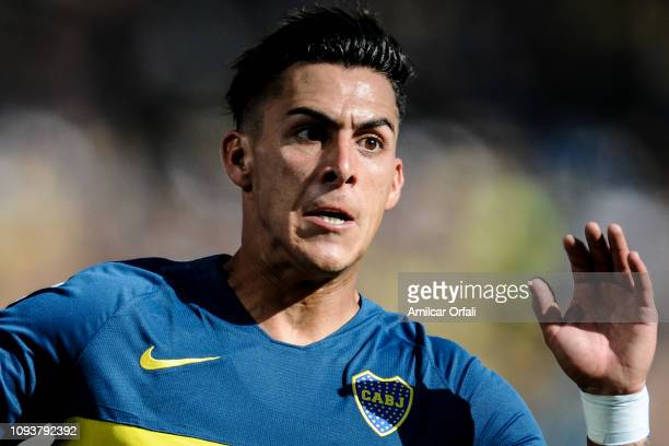 Cristian Pavon of Boca Juniors looks on during a match between Boca Juniors and Godoy Cruz as part of Superliga 2018/19 at Estadio Alberto J Armando...