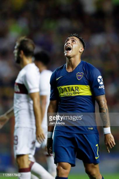 Cristian Pavon of Boca Juniors reacts after missing a shot during a match between Boca Juniors and Lanus as part of Superliga 2018/19 at Estadio...