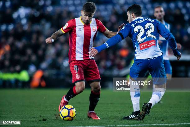 09 Cristian Portu from Spain of Girona FC against 22 Mario Hermoso from Spain of RCD Espanyol during the La Liga match between RCD Espanyol v Girona...