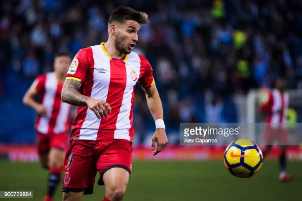 Cristian 'Portu' of Girona FC runs for the ball during the La Liga match between RCD Espanyol and Girona FC at RCDE Stadium on December 11 2017 in...
