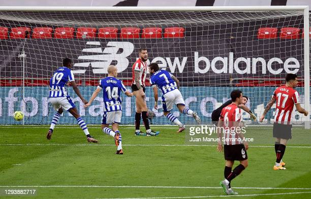 Cristian Portu of Real Sociedad scores the opening goal during the La Liga Santander match between Athletic Club and Real Sociedad at Estadio de San...