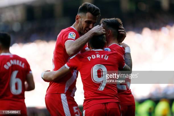 Cristian Portu seen celebrating after scoring a goal during the Spanish La Liga match between Real Madrid and Girona CF at the Santiago Bernabeu...