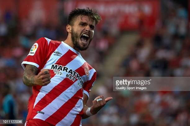 Cristian Portugues Manzanera of Girona celebrates after scoring a goal during the preseason friendly match between Girona and Tottenham Hotspur at...