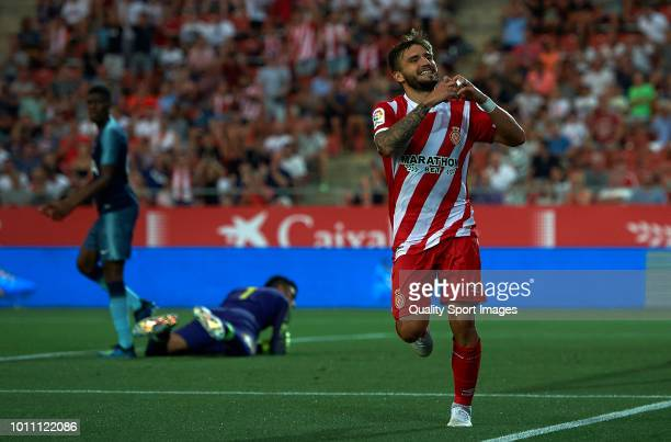 Cristian Portugues Manzanera of Girona celebrates after scoring a goal during the preseason friendly match between Girona and Tottenham Hotspur at...
