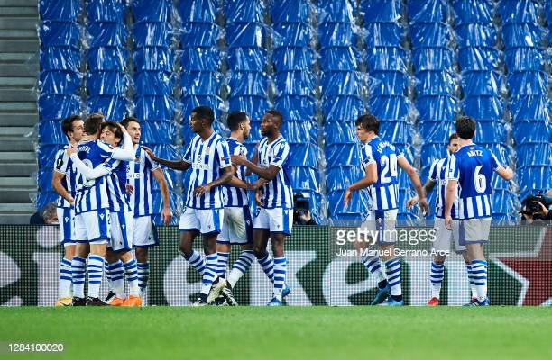 Cristian Portugues of Real Sociedad celebrates after scoring goal during the UEFA Europa League Group F stage match between Real Sociedad and AZ...