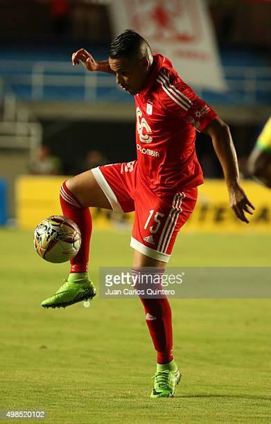 Cristian Restrepo of America de Cali controls the ball during a match between America de Cali and Bucaramanga as part of fourth round of Quadrangular...