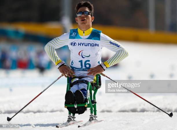 Cristian Ribera of Brazil competes in the Men's Cross Country 11km Sprint Sitting event at Alpensia Biathlon Centre during day five of the...