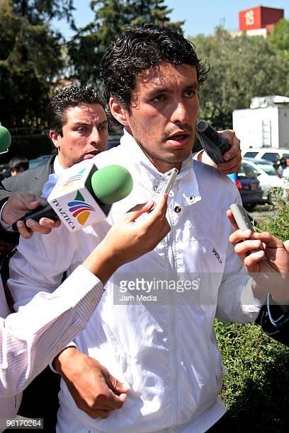 Cristian Riveros of Cruz Azul speaks to press at Angels of Pedregal hospital, where Paraguayan soccer player Salvador Cabanas has been hospitalized...